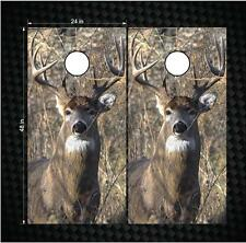 Pair White Tail Buck Deer Hunting Cornhole Wrap Set Decals Vinyl LAMINATED Decal