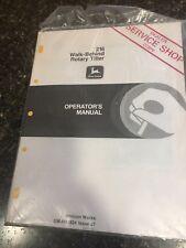 John Deere Operator's Manual 216 Walk-Behind Rotary Tiller Dealer Service Shop
