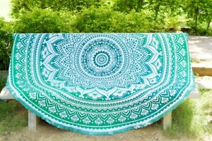 """Tapestry Green Large 72"""" Roundy Mandala Outdoor Beach Blanket Table Throw Hippie"""