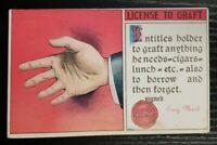 Antique Comic Postcard~ License To Graft~ P710