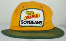 Vtg Dekalb Soybeans Sewn Patch Farming Seed Yellow Green K-Products Trucker Hat
