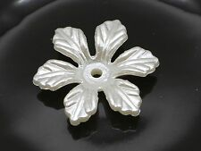 100 Ivory Acrylic Pearl 6-Petals Flower Beads Cap 24mm Center Hole Sewing Craft