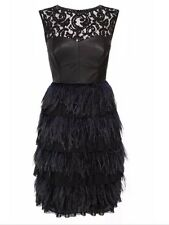 BNWT 🎀 Coast  🎀 Size 8 Izzy Feather / Leather / Lace Evening Dress S RRP £250
