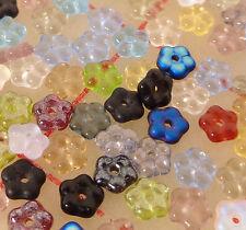 100 assorted 5mm Czech glass flower beads daisy spacer blue green red purple