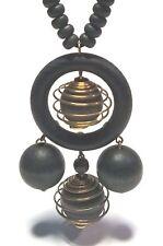 AARIKKA Finland - Beautiful Vintage Necklace with Black Wood and Metal