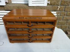 ANCIEN Meuble présentoir magasin mercerie soie sur croisettes 4 tiroirs
