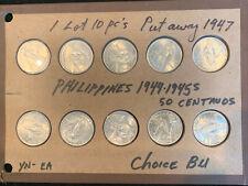 10 PC LOT 1944-45 PHILIPPINES 50 CENTAVOS  LOOKS TOP GRADE