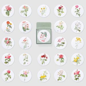 Set of 46 Pretty Floral Vintage Flower Scrapbook Round Mini Box Stickers Collage