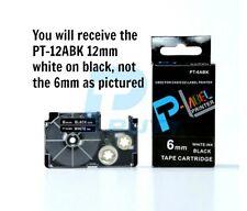 Casio XR-12ABK Compatible White on Black 12mm 8m Label Tape KL60 G2 100 130 820