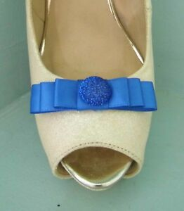 2 Small Royal Blue Bow Clips for Shoes with Glittery Button Centre