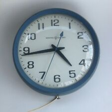 GE General Electric Vintage Electric School House Clock,Blue second Hand M# 2012