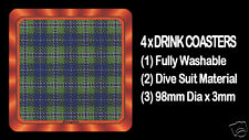 4  x  SCOTTISH TARTAN - CLAN - DOUGLAS - DRINK COASTERS - Re-usable Washable