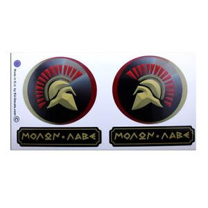4X Spartan Helmets L&R 87mm & MOLON LABE Laminated Decals Stickers hot rod vespa