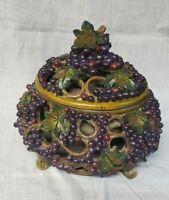 """"""" Harvest Grapes """" Ceramics Raised Grape & Leaves Bowl w/ Lid Home Decor Unique"""