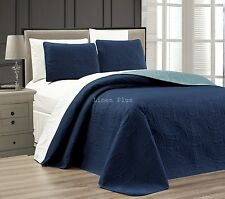 "3 Piece Reversible Quilted Bedspread  Set Blue Cal King Size 108""x95"""