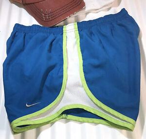 NIKE DriFit Tempo Shorts Women's Size XS Blue/White W/Neon Green Trim RN:56323
