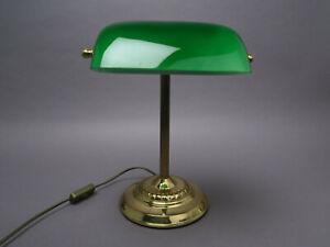 Bankerlampe Grün Schreibtisch Leuchte Messingfuß