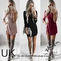 UK Womens Plain Shirt Dress Ladies Long Sleeve Boyfriend Shirt Dress Size 6 - 14