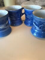 Lot of 4 Currier & Ives Coffee Mugs Cups Cobalt Blue - Old Homestead in Winter