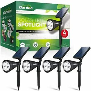 LED Solar Garden Spotlights (4 Pack) No-Wire Installation Ground Or Wall Mount.