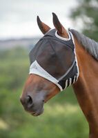 Shires Fine Mesh Fly Mask with Ear Holes in Black, 5 Sizes UV Protection.
