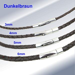 Leder Hals-Band geflochten Edelstahl Hebeldruckverschluß Ketten Armband Unisex