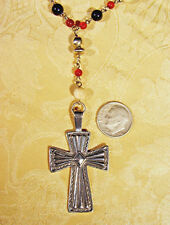 "Sterling Silver Cross Pendant with 24"" beaded chain necklace - Southwest NOS"