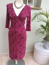 Jersey V-Neck 3/4 Sleeve Geometric Dresses for Women