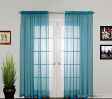 Fashion Sheer Voile Curtains Rod Pocket Pair 2x140w X 213 230l Turquoise 2 Panels 140cm X 213cm Each