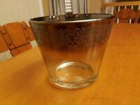 Mid-Century Modern Dorothy Thorpe Silver/Glass Ice Bucket Embossed Scroll Design