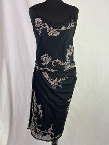 KAREN MILLEN Co-ord Cami & Skirt Women's UK14 Black Beaded Spaghetti Top L31