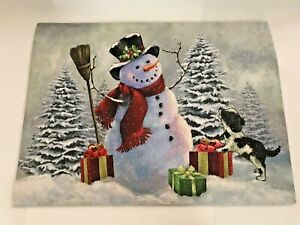 """Christmas rubber Doormat Rug 24"""" L Snowman Holiday Party Home Decor"""
