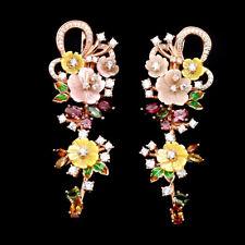 925 Silber Ohrringe, Roségold beschichtet 55 x18 mm, Perlmuttblumen & Turmalin