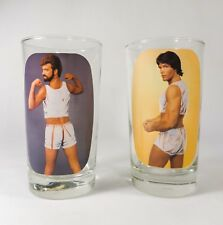 VINT 1960'S PAIR CLEAR GLASS TUMBLERS, W/MACHO MEN/BEEFCAKE NUDE TRANSFER IMAGES