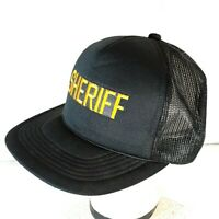 Vintage Black Sheriff Embroidered Men's Snapback Trucker Mesh Hat Cap