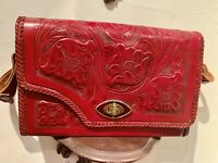 100% genuine mexican leather Hand Tooled REVERSIBLE vintage Purse Red To Brown