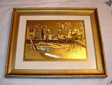 """GOLD ETCHING LIONEL BARRYMORE FRAME VINTAGE NICE 'HARBOR SHELTER"""" BOATS 9 X 11"""""""