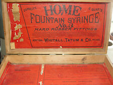 HOME FOUNTAIN SYRINGE,WHITALL,TATUM&CO,ADVERTISING WOODEN MEDICAL EQUIPEMENT BOX