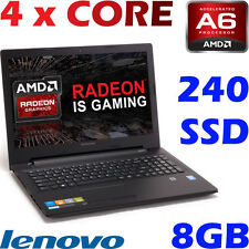 "Lenovo Quad Core AMD A6-7310 8GB 240GB-SSD 15.6"" Win 10 Radeon R4 Gaming Laptop"