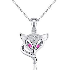 "Swarovski Elements Cubic Zirconia Fox Pendant Sterling Silver 18"" Chain Gift E14"