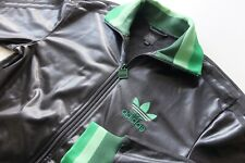 Rare Trefoil Adidas Chile '62 tracksuit Jacket Black Green S Wet look shiny VGC