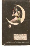 Carte Postale photo teintée Lettonie PSR Joyeuses Pâques femme sur la lune Oeuf