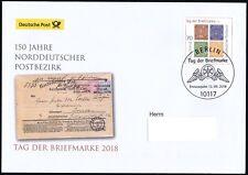 BRD 2018: Norddeutscher Postbezirk! Post-FDC der Nr. 3412! Gelaufen! 1809