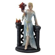 "9.25"" Maiden Admiring a Dragon Hatchling Sculpture Figure Figurine Statue Girl"