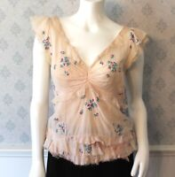 Marc Jacobs Designer Sheer Cotton Pink Purple & Green Floral Embroidered Top