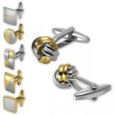 6 Paar Manschettenknöpfe in Geschenkbox Edelstahl gold silber schwarz matt