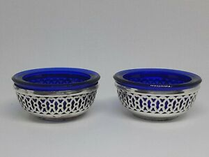 SET OF 2 ANTIQUE PIRCED STERLING SILVER & COLBALT SALT CELLARS WITH