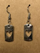 Heart On Silver tone Fishhook Wires Earrings With Silver Tag w/Follow Your