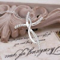 Women Jewelry 925 Sterling Silver Plated Chain Cross Cubic Zirconia Necklace