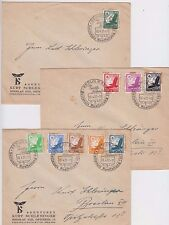 Stamps 1937 Germany set of 9 Golden Eagle & globe on 3 matching private covers